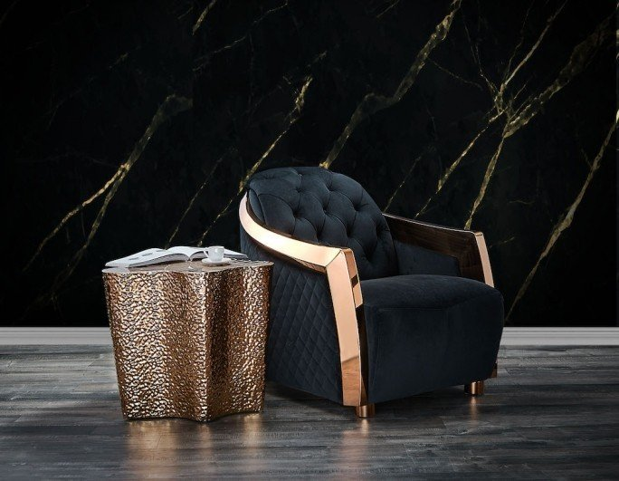 Massimo luxury chair with Glacier luxury end table