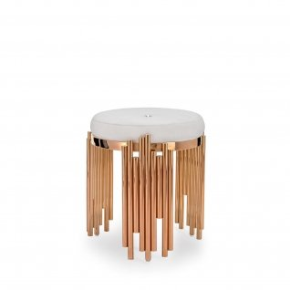 Mauris Rose Gold Stool | Light Beige