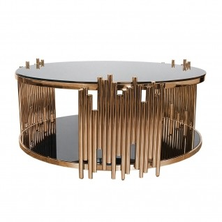 Mauris Round Rose Gold Glass Coffee Table