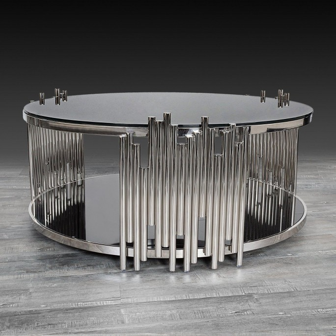 Mauris Round Coffee Table Silver, Round Silver Table