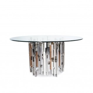 Illusion Round Silver Dining Table