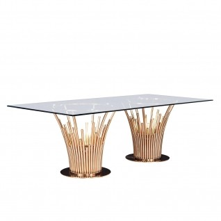 Mauris Rectangular Rose Gold Dining Table