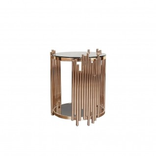 Mauris Round Rose Gold Glass End Table
