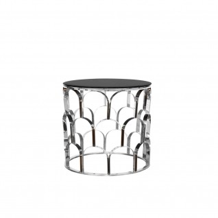 sequenza round silver end table