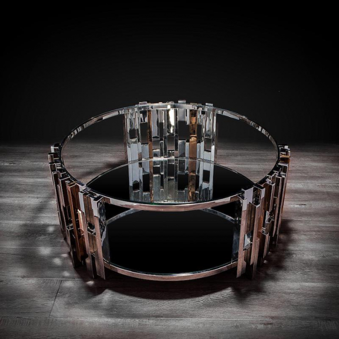 Illusion mirrored round coffee table