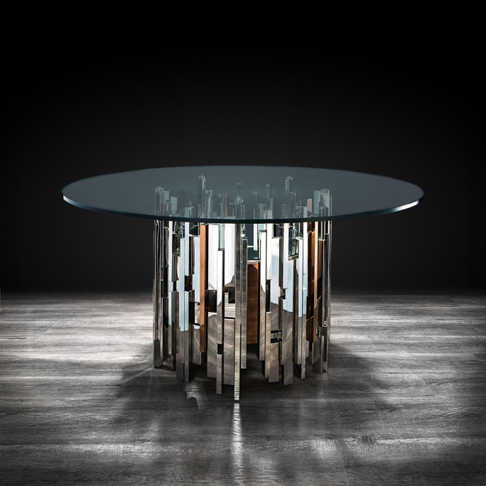 Illusion mirrored round dining table