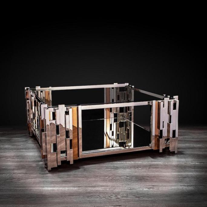 Illusion mirrored square coffee table