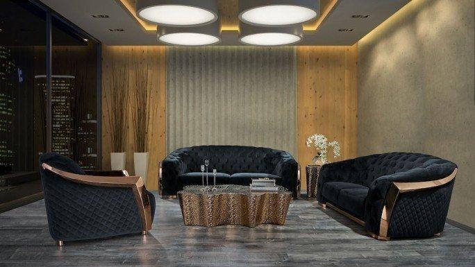 Massimo luxury sofa set with Glacier luxury coffee table