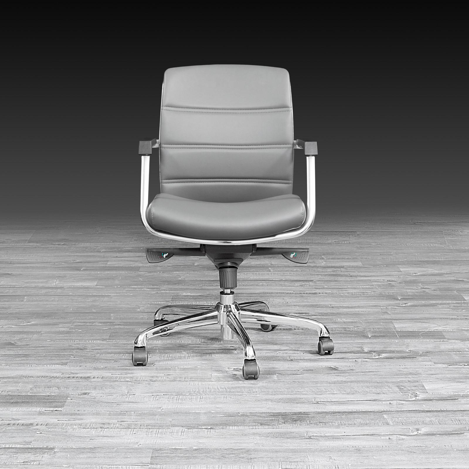 Polished Stainless Steel Base And Frame With Gary Faux Leather Upholstery.